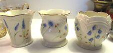 Classic Lenox Blue Floral Votive Candle Holders 24 Kt Trim Set Of 3