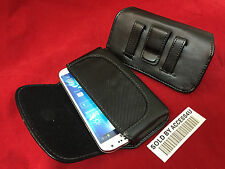 BLACK LEATHER BELT CLIP POUCH CARRYING CASE FOR SAMSUNG GALAXY MEGA LG G FLEX