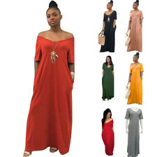 Women Summer Short Sleeve V Neck Solid Casual Maxi Loose Ball Gown Wrap Dress