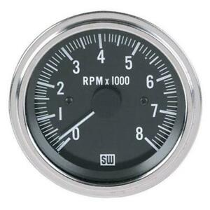 Stewart Warner 82170 Deluxe Black Tachometer, Electric, 3-3/8 Inch, 0-8000 RPM