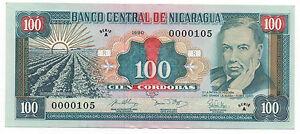 NICARAGUA 100 CORDOBAS 1990 PICK 178  LOW NUMBER 105 UNC- LOOK SCANS