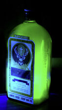 Jagermeister GLOWING NEON Blacklight Bottle Handmade -add poster sign - UV GLOW!
