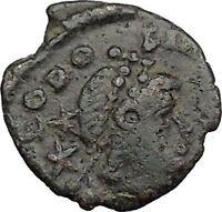 Theodosius II & Honorius w spears  408AD Authentic Ancient  Roman Coin  i32830