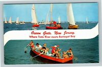 Ocean Gate NJ, Banner, Sailing, Toms River, Chrome New Jersey Postcard