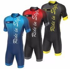 FDX Mens Cycling Skinsuit Stylish Padded Trisuit One Piece Cycling Speedsuit Kit
