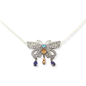 .Stunning Sterling Silver Multi Gemstone CZ Inlaid Butterfly Necklace 10.1g