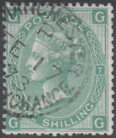 1871 SG117 1s GREEN WATERMARK SPRAY PLATE 7 FINE USED MANCHESTER CDS (GG)