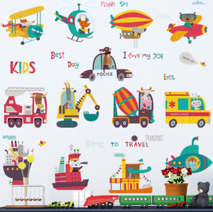 Wall Stickers Truck Airplane Ship Removable Decor Baby Kids Nursery DIY Gift