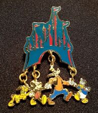 RETIRED 1999 DISNEY WDW CINDERELLA CASTLE DANGLE SERIES TEAL FAB 4 PIN LE 2000
