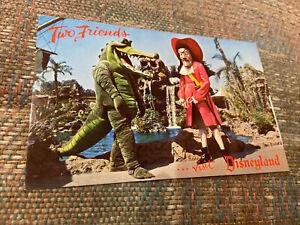 Vintage DISNEYLAND Postcard--Fantasyland-Two Friends-Captain Hook Crocodile-D12
