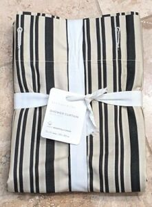 """POTTERY BARN ~ ANTIQUE STRIPED ORGANIC SHOWER CURTAIN in GRAY ~ 72"""" X 72"""""""