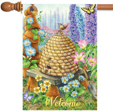 New Toland - Welcome Beehive Birdies - Flower Floral Bird Spring House Flag