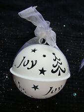 3 Large White Jingle Bells Baubles Christmas Hangers Decorations Noel Joy Peace