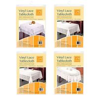 Vinyl Lace Tablecloth Table Cover White Oval Rectangle Square Round Embossed