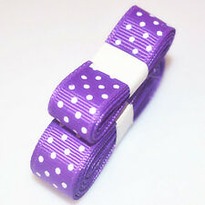 "3yds 5/8""(15 mm) Purple Christmas Ribbon Printed lovely Dots Grosgrain#"