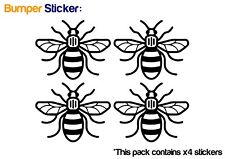 Manchester Bee x4 Bumper Car ipad Stickers (BLACK) - HIGH QUALITY VINYL DECAL