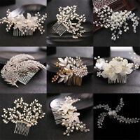 Bridal Pearl Flower Crystal Hair Pins Clips Bridesmaid Side Comb Wedding Jewelry