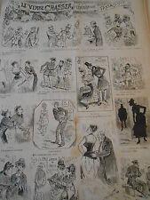 1887  pèle mèle de dessins Le Verbe Cjasser conjugaison Fantaisiste