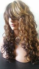 Beautiful Long Curly Wig With Bangs Honey Blonde/Brown/dark Auburn nape Ht Safe