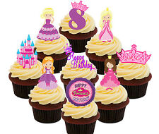 8th Birthday Princess Edible Cup Cake Toppers, 36 Standup Fairy Decorations Girl