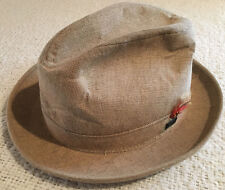 Vintage Adam Fedora Hat Tan With Feather Size 7 Made in USA