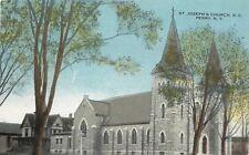 Perry New York~St Joseph's Roman Catholic Church~House Behind~1912 Postcard