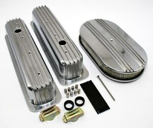 Chevy 350 Retro Half Finned Vortec & TBI Valve Covers Air Cleaner Dress Up Kit