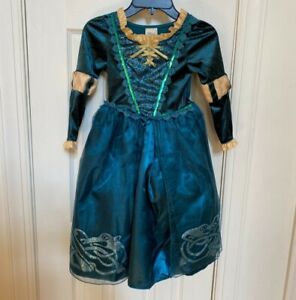 Disney Store Girls Princess Dress Costume Size XS(4) Teal Gold Merida