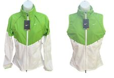 New NIKE + Women's Reflective Rain Jacket Converts to Gilet  Green and White S