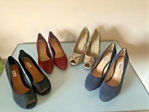 Bundle of 4 Pairs CLARKS UK 6.5 EU 40 Leather High Heel Peep Toe & Court Shoes