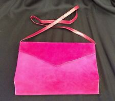 VTG Charles Jourdan PARIS FUSCHIA Pink Suede/Leather Crossbody Bag/Clutch • EUC