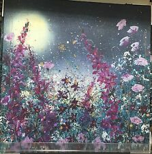 Purple Lilac Gold Flowers In Blue Night Sky Glitter Embellished Canvas Art NEW