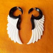 Black and White Wing Split Gauge Earrings Gift for Yogi Fake Plug Gothic Jewelry