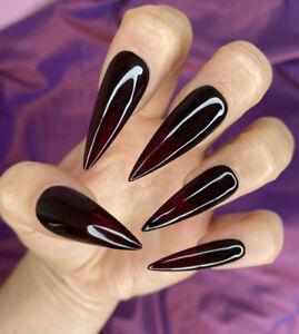 Hand Painted False Nails Plain Gloss Deep Dark Red Stiletto Press on nails