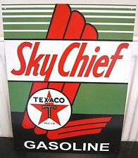 "TEXACO GASOLINE SKY CHIEF METAL SIGN,16""x10"", PETROL/OIL/GAS,GARAGE/MAN CAVE"