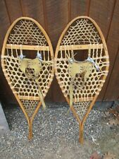"Great Snowshoes 42"" Long x 16"" Wide with Leather Bindings Decorative"