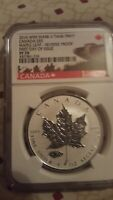 2016 1 oz .9999 Silver Canadian Maple Leaf Mark V Tank Privy NGC REVERSE PROOF