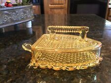 Vintage Yellow Amber Imperial Glass Flat Iron Covered Candy Dish