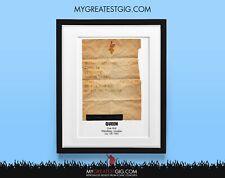 Queen - Live Aid - Jul 13th 1985 - Recreated Set List Poster Print Art