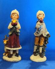 resin boy and girl winter Christmas holidays decor figurine