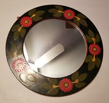 Vintage Hand Painted Wooden Framed Round Wall Mirror
