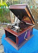 Antique Working Edison Amberola V Mahogany Case WindUp Cylinder Phonograph