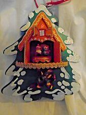 Vtg Musical Christmas Tree~Pull String~Simular Coo Coo Clock~Santa Spins~Japan