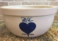 Stoneware Batter Bowl Farmhouse Heavy Blue Heart Design Primitive