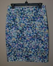 Ann Taylor 4 Blue White Purple Watercolor Floral Straight Stretch Skirt Lined