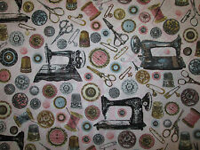 ANTIQUE SEWING MACHINES SEW ITEMS PINK COTTON FABRIC FQ