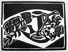 JOSEF SCHARL: 2 ORIGINAL-HOLZSCHNITTE & KATALOG BLUMEN VASE KRUG FLOWERS 1940/41