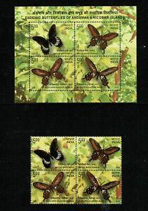 SC20 INDIA 2008 Miniature sheet + set  - Butterflies of Andaman MNH