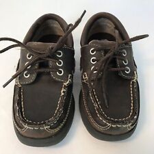 "Baby Boys Sz 9 Gymboree ""Sketch� lace Up Deck Shoe Brown Toddler"