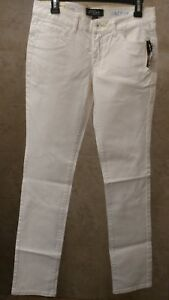 VOLCOM JEANS WOMEN'S WHITE SKINNY STRETCH JUNIORS SURF SIZE 7 NEW WITH TAGS